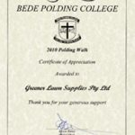 Certificate Of Appreciation for supporting Bede Polding College in the 2010 Polding Walk