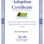 Adoption Certificate for the adoption of a Care Flight Teddy Bear