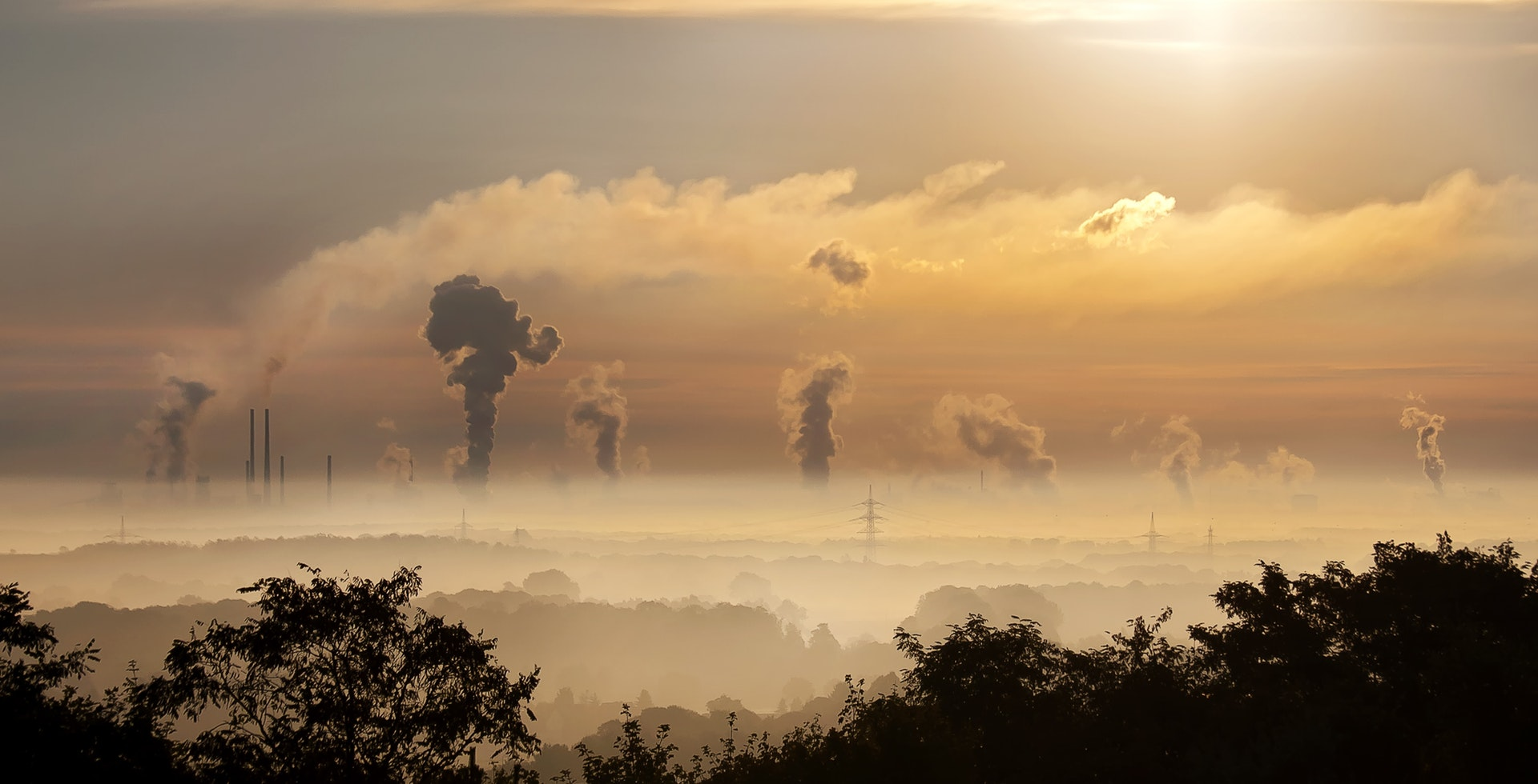 Air pollution caused by industries in sky